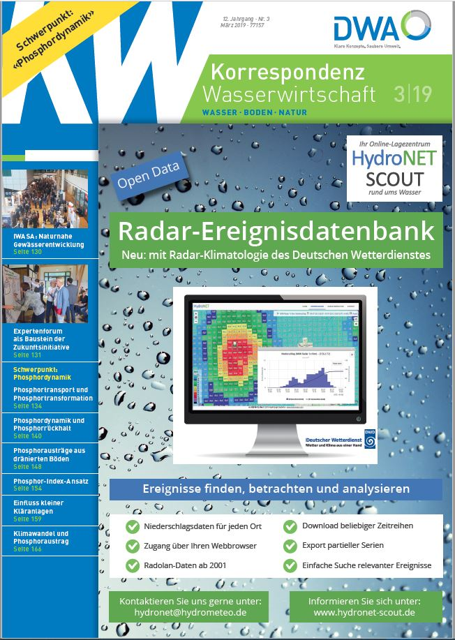 title: Korrespondenz Wasserwirtschaft 03/2019 with advertisment hydroNET SCOUT event database