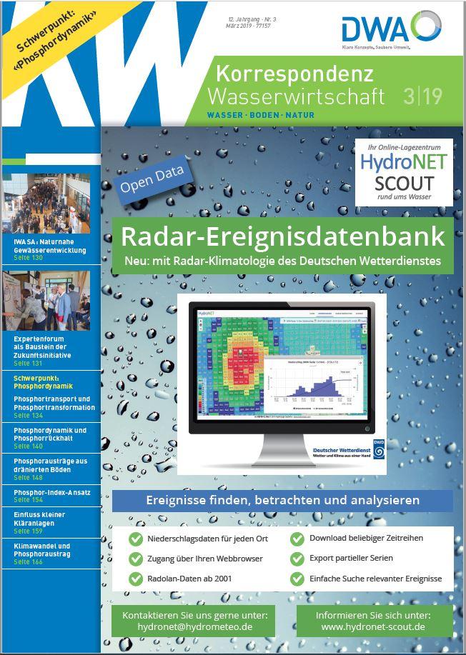 Titel: Korrespondenz Wasserwirtschaft 03-2019 mit Anzeige Ereignis-DB hydroNET SCOUT