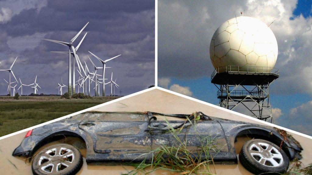 Radar, Windkraftanlage und überschwemmtes Auto