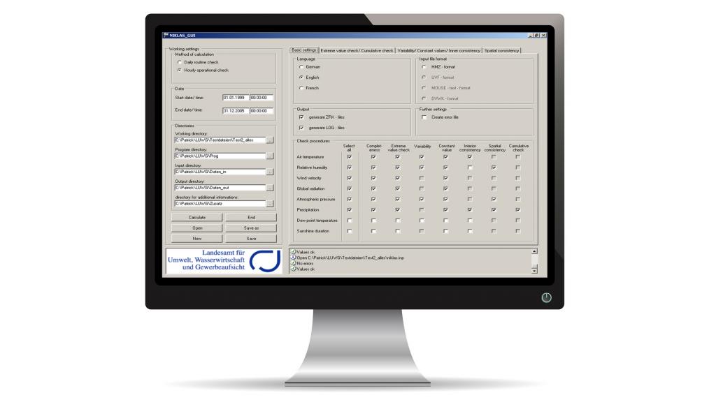 Screenshot der Software NIKLAS