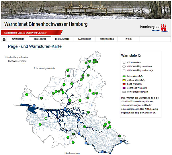 Screenshot Warndienst Binnenhochwasser Hamburg neue Oberfläche